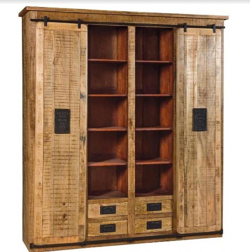 Armadio libreria newport - legno e ferro ante scorrevoli