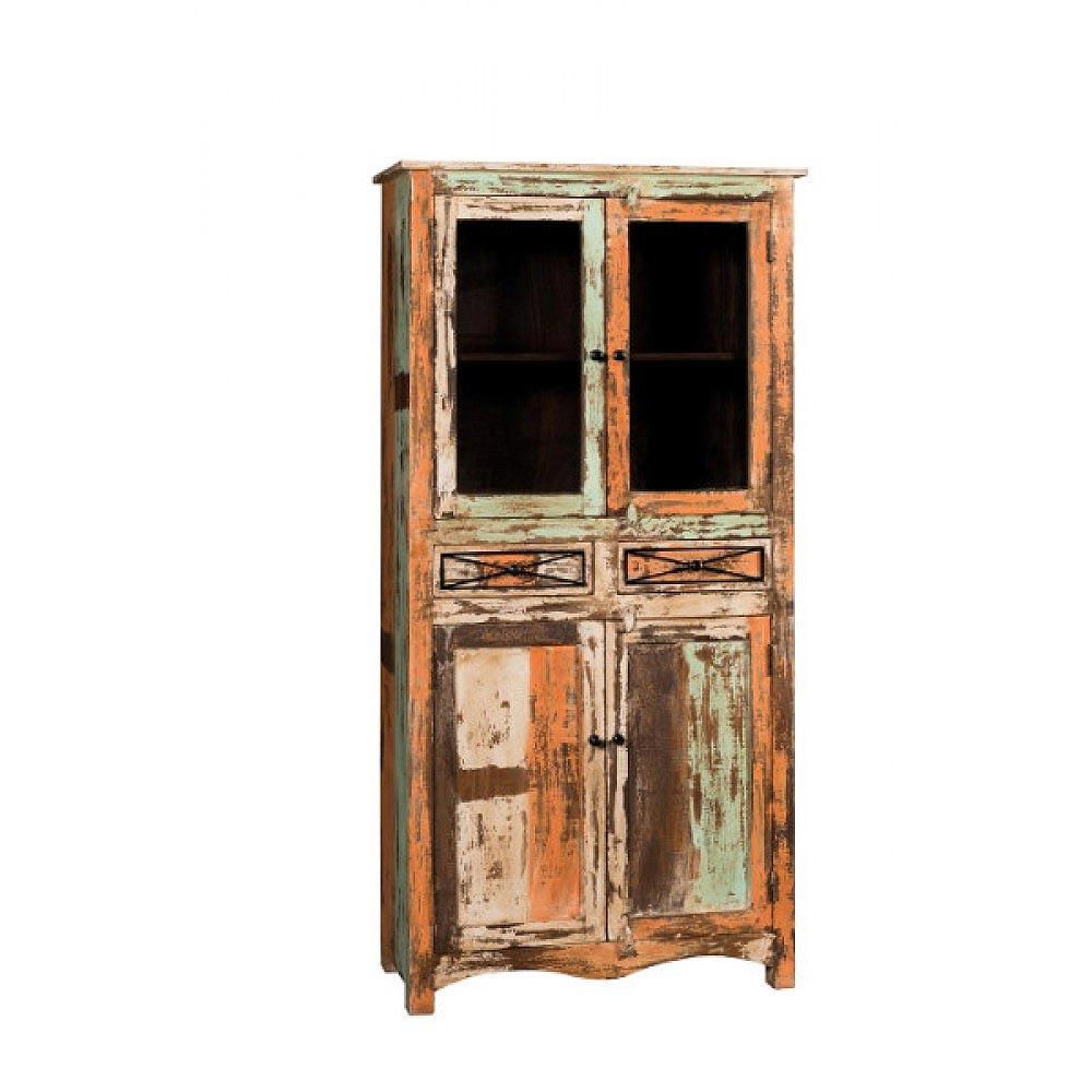 Mobile vetrina legno riciclato - nuovimondi outlet mobili