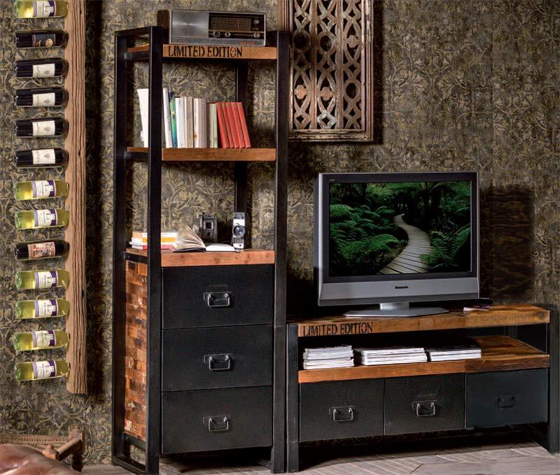 Mobili Porta Tv Stile Industriale.Soggiorno Industrial Chic Composizione Porta Tv E Libreria In