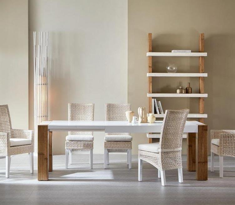 Tavoli Allungabili Moderni Outlet.Tavolo Etnico Allungabile Bambu Design Moderno Prezzo Outlet
