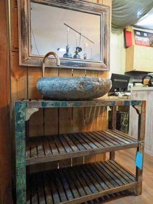 Bagno eco vintage Composizione bagno vintage in offerta compreso di specchio e lavabo in pietra come da foto.