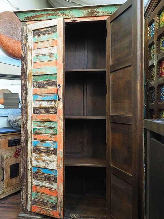 Armadio recycle colorato - legno massello ricicclato