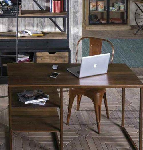 scrivania ferro legno industrial