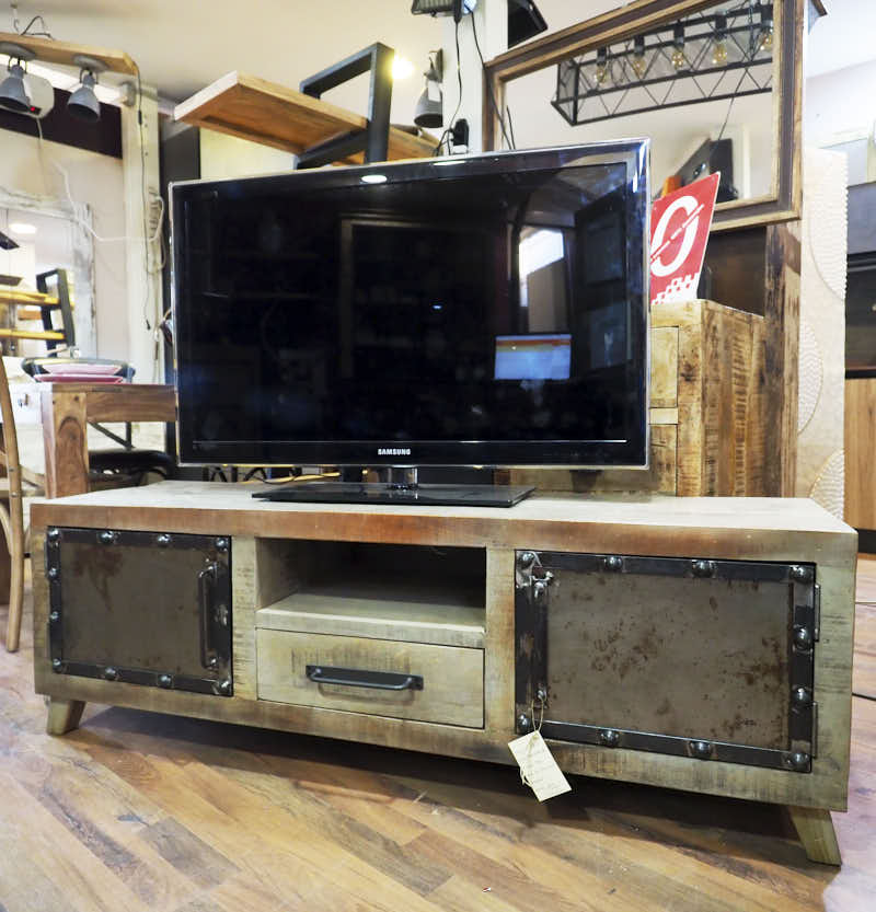 Mobile Porta Tv Legno Noce Naturale Stile Industrial