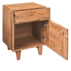 comodino legno naturale