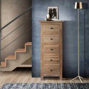 cassettiera alta legno sbiancato
